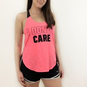 VS PINK I Donut Care Hot Pink Workout Tank Top